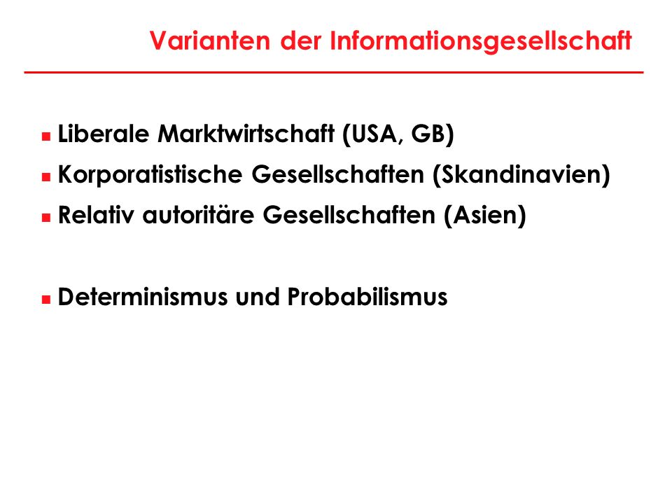Varianten der Informationsgesellschaft