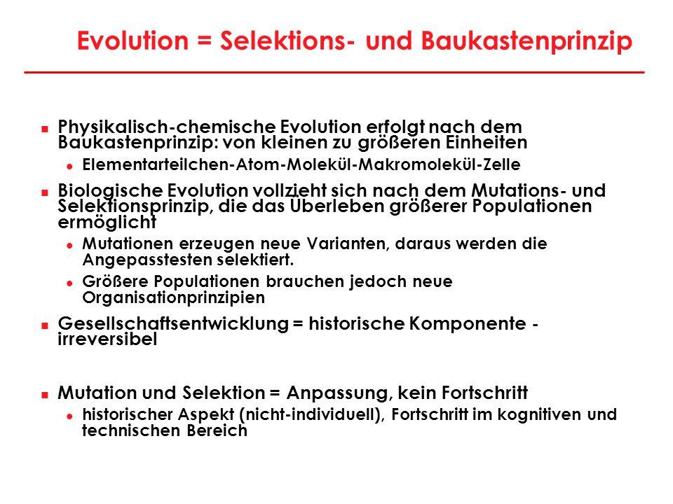 Evolution = Selektions- und Baukastenprinzip