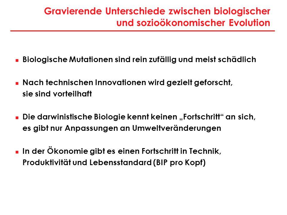 Gravierende Unterschiede zwischen biologischer und sozioökonomischer Evolution