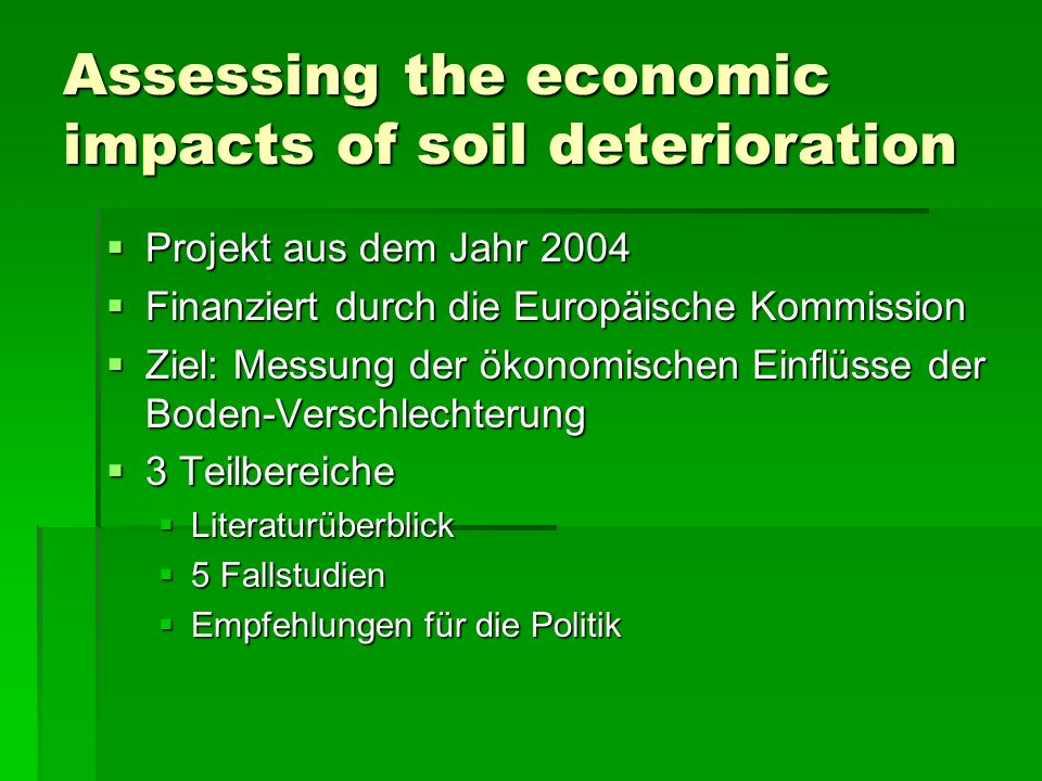 Assessing the economic impacts of soil deterioration