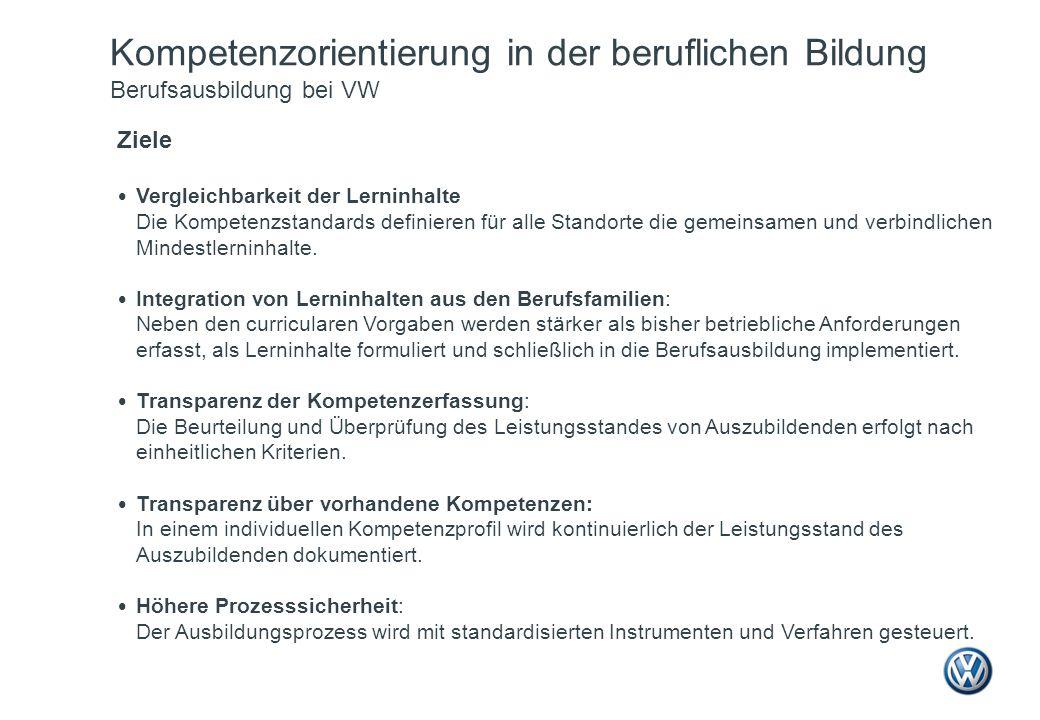 Kompetenzorientierung in der beruflichen Bildung Berufsausbildung bei VW