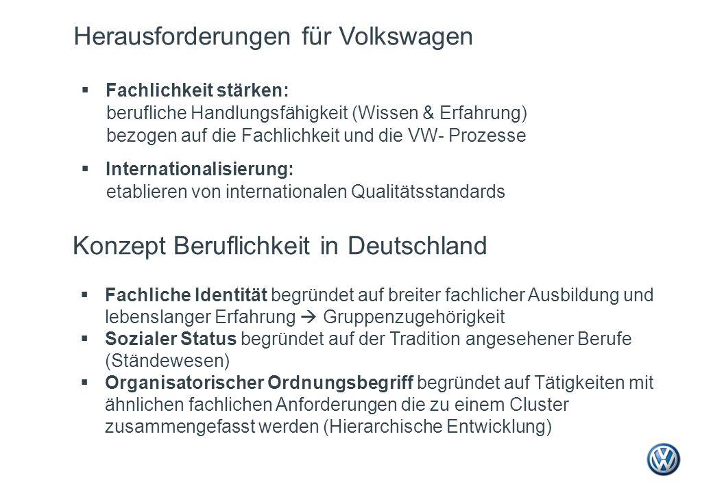 Herausforderungen für Volkswagen