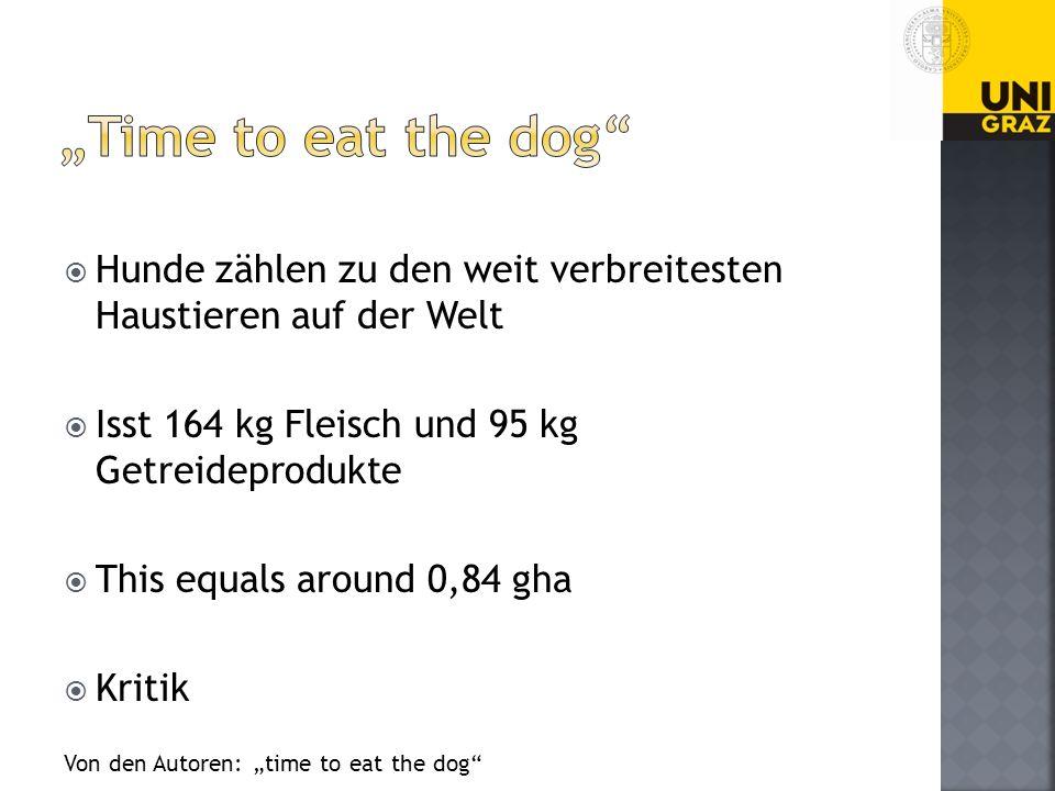 """""""Time to eat the dog Hunde zählen zu den weit verbreitesten Haustieren auf der Welt. Isst 164 kg Fleisch und 95 kg Getreideprodukte."""