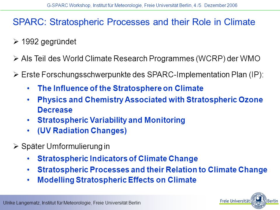 SPARC: Stratospheric Processes and their Role in Climate