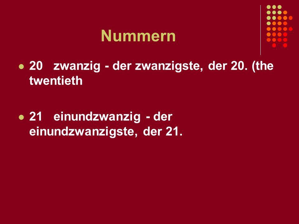 Nummern 20 zwanzig - der zwanzigste, der 20. (the twentieth