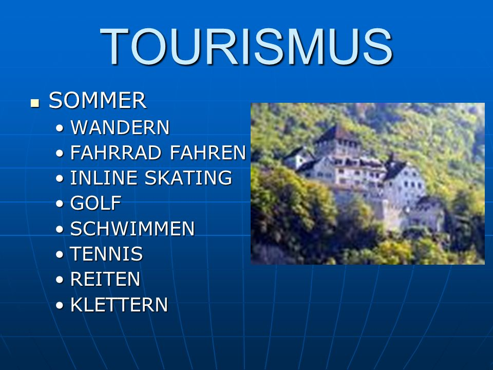 TOURISMUS SOMMER WANDERN FAHRRAD FAHREN INLINE SKATING GOLF SCHWIMMEN