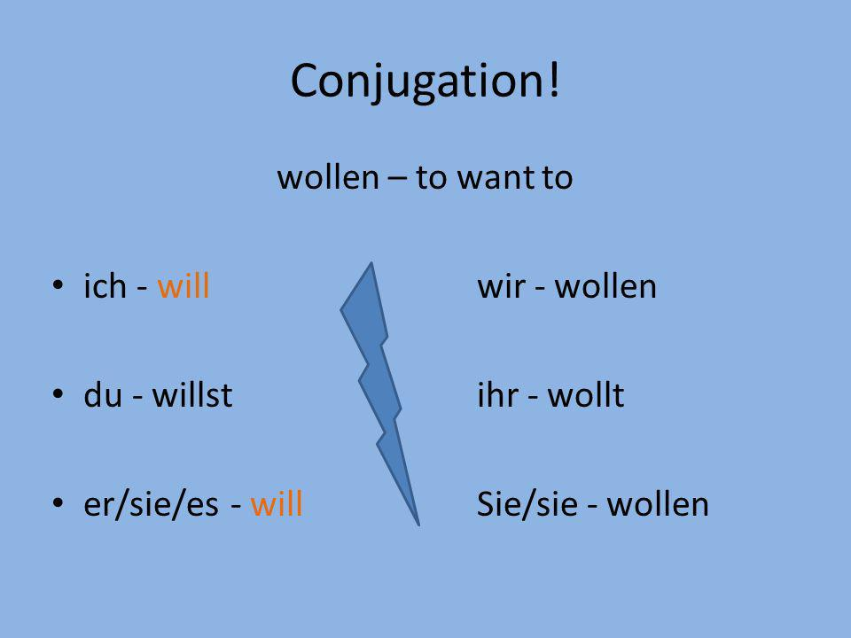 Conjugation! wollen – to want to ich - will wir - wollen