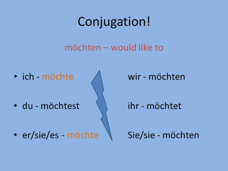 Conjugation! möchten – would like to ich - möchte wir - möchten