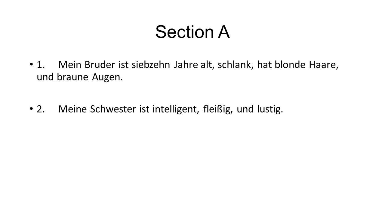 Section A 1. Mein Bruder ist siebzehn Jahre alt, schlank, hat blonde Haare, und braune Augen.