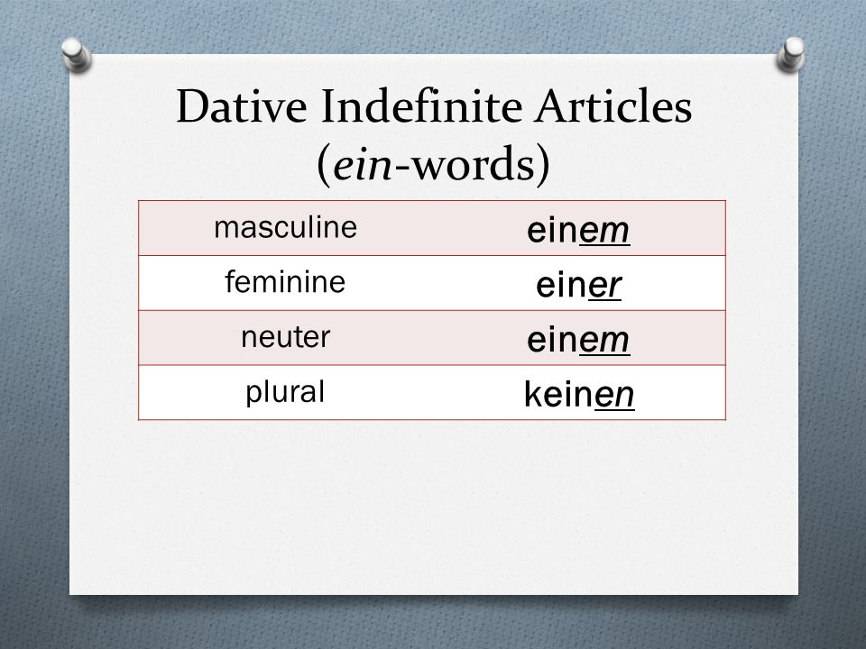Dative Indefinite Articles (ein-words)
