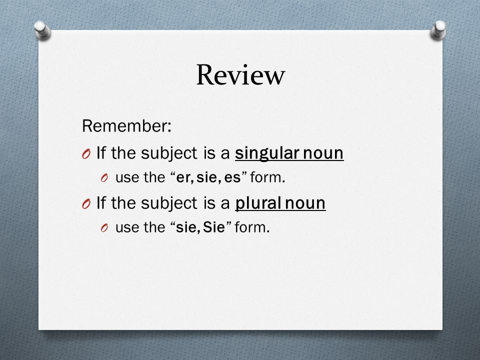 Review Remember: If the subject is a singular noun