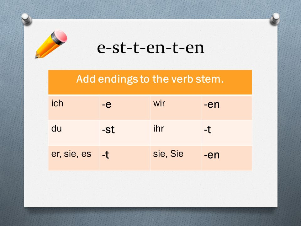 Add endings to the verb stem.