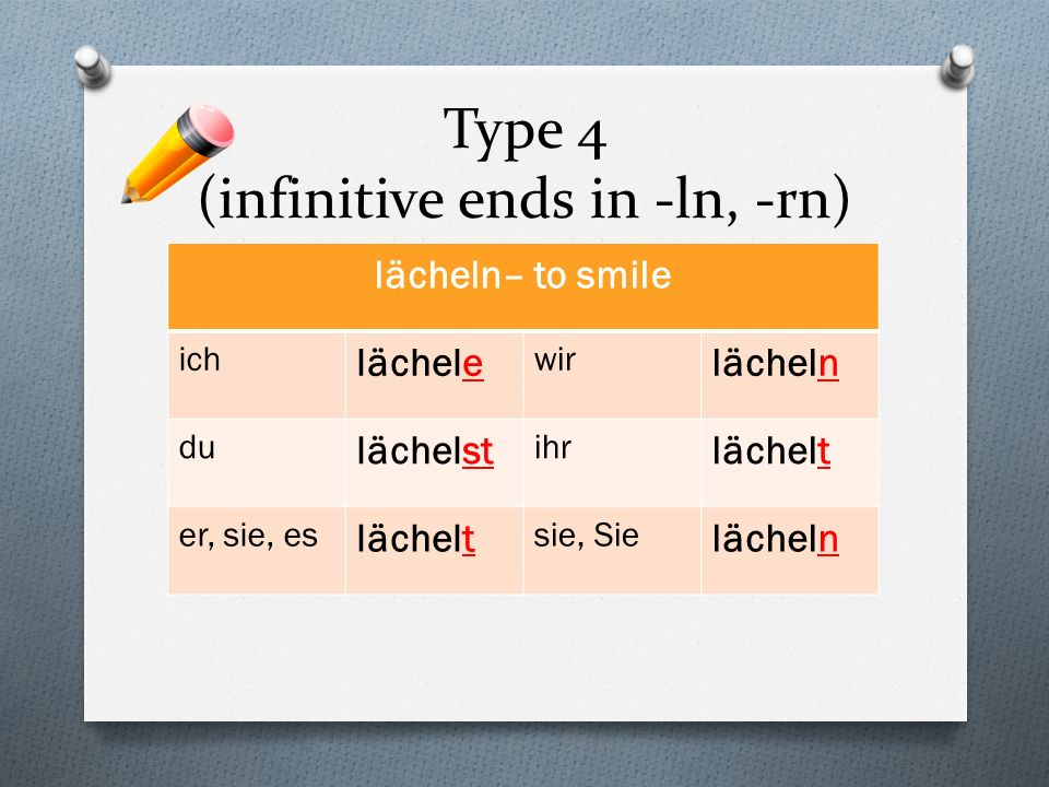 Type 4 (infinitive ends in -ln, -rn)