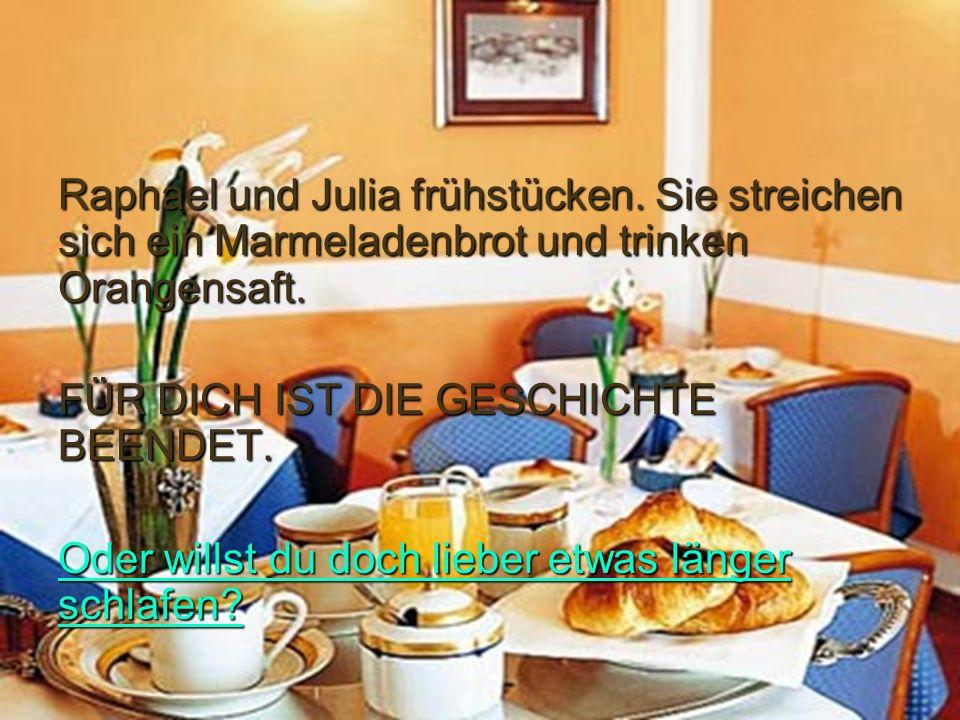 Raphael und Julia frühstücken