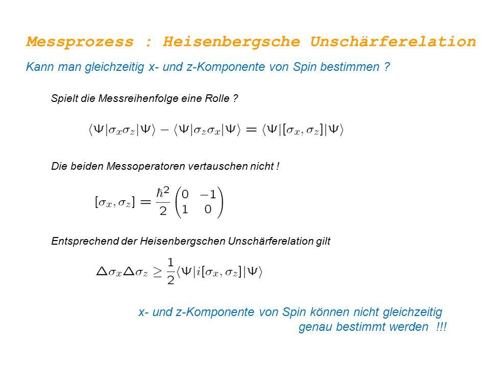 Messprozess : Heisenbergsche Unschärferelation