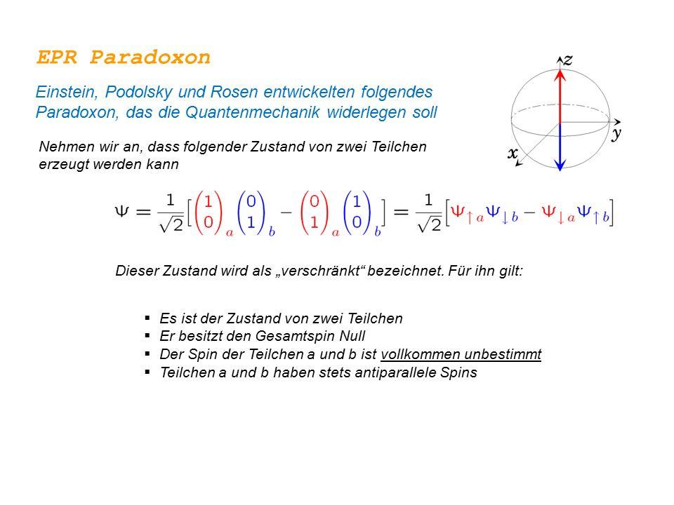 EPR Paradoxon Einstein, Podolsky und Rosen entwickelten folgendes Paradoxon, das die Quantenmechanik widerlegen soll.