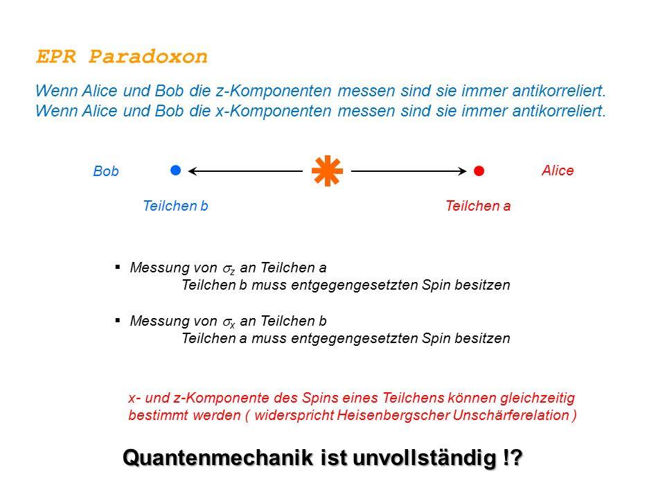 Quantenmechanik ist unvollständig !