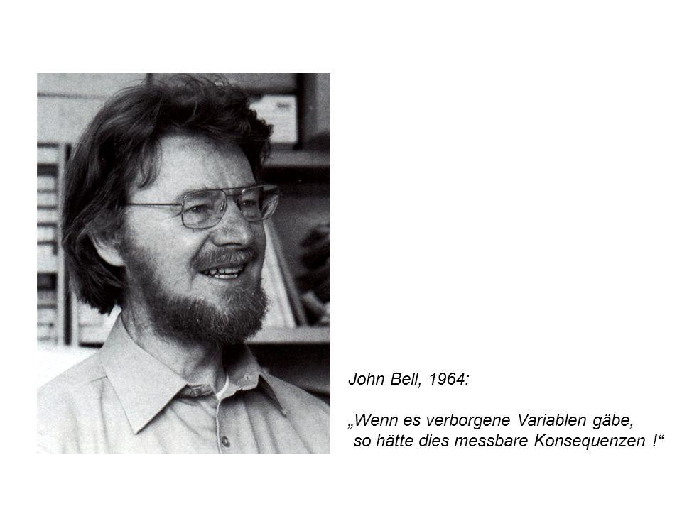 """John Bell, 1964: """"Wenn es verborgene Variablen gäbe, so hätte dies messbare Konsequenzen !"""