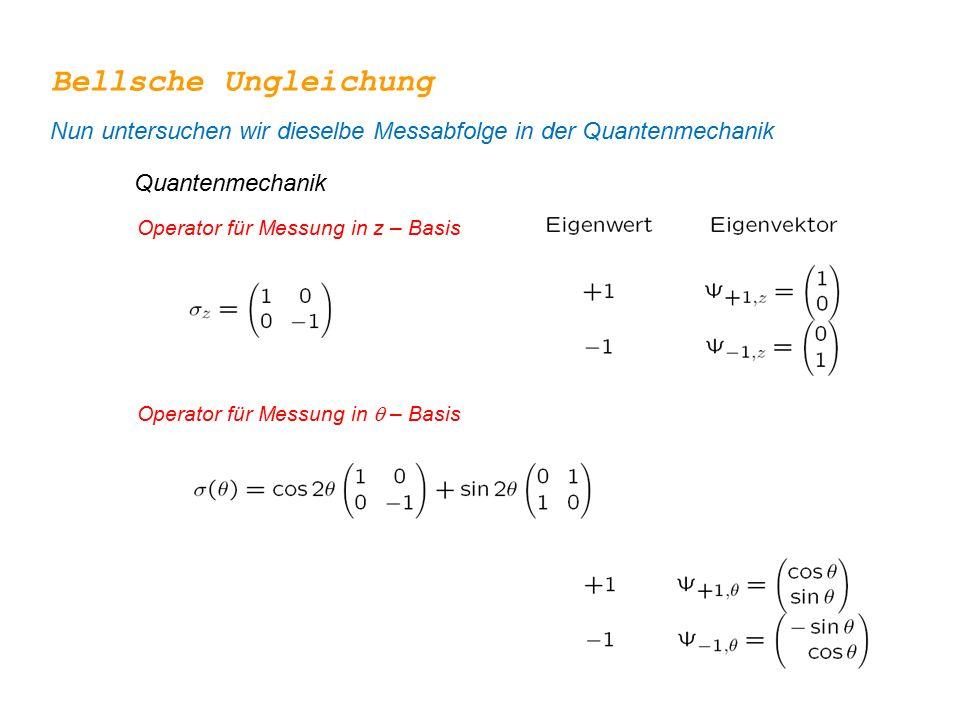 Bellsche Ungleichung Nun untersuchen wir dieselbe Messabfolge in der Quantenmechanik. Quantenmechanik.