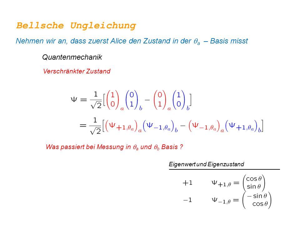 Bellsche Ungleichung Nehmen wir an, dass zuerst Alice den Zustand in der qa – Basis misst. Quantenmechanik.