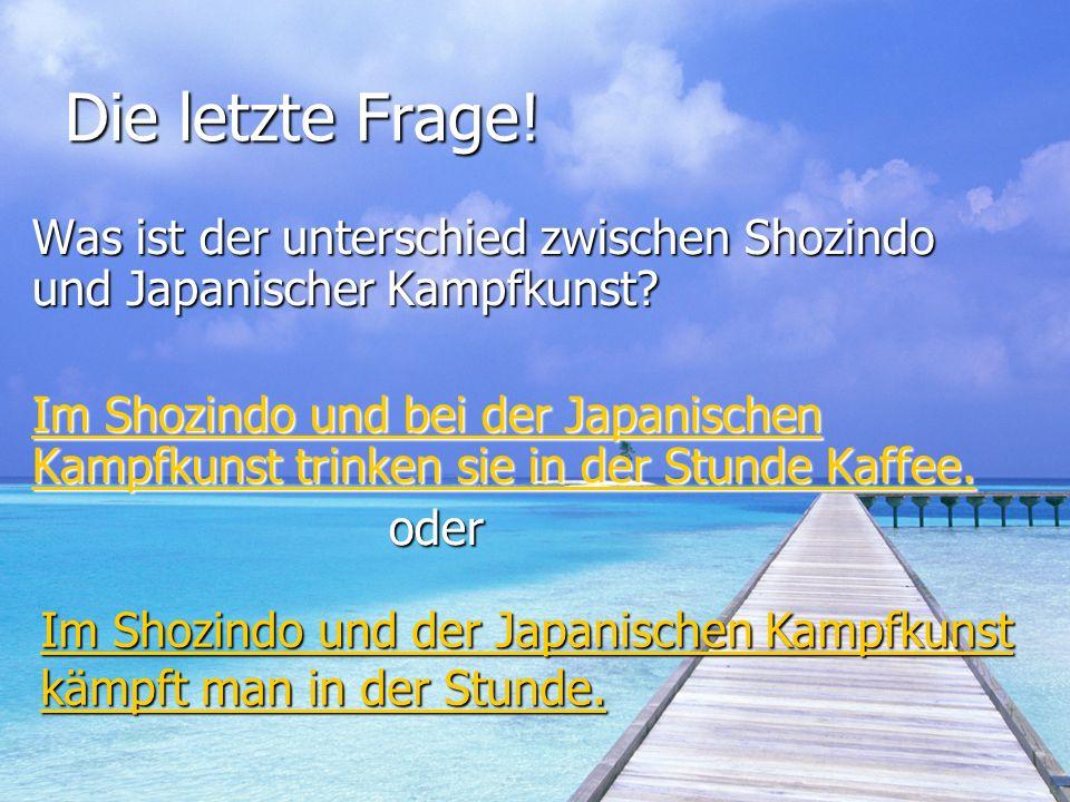 Die letzte Frage! Was ist der unterschied zwischen Shozindo und Japanischer Kampfkunst