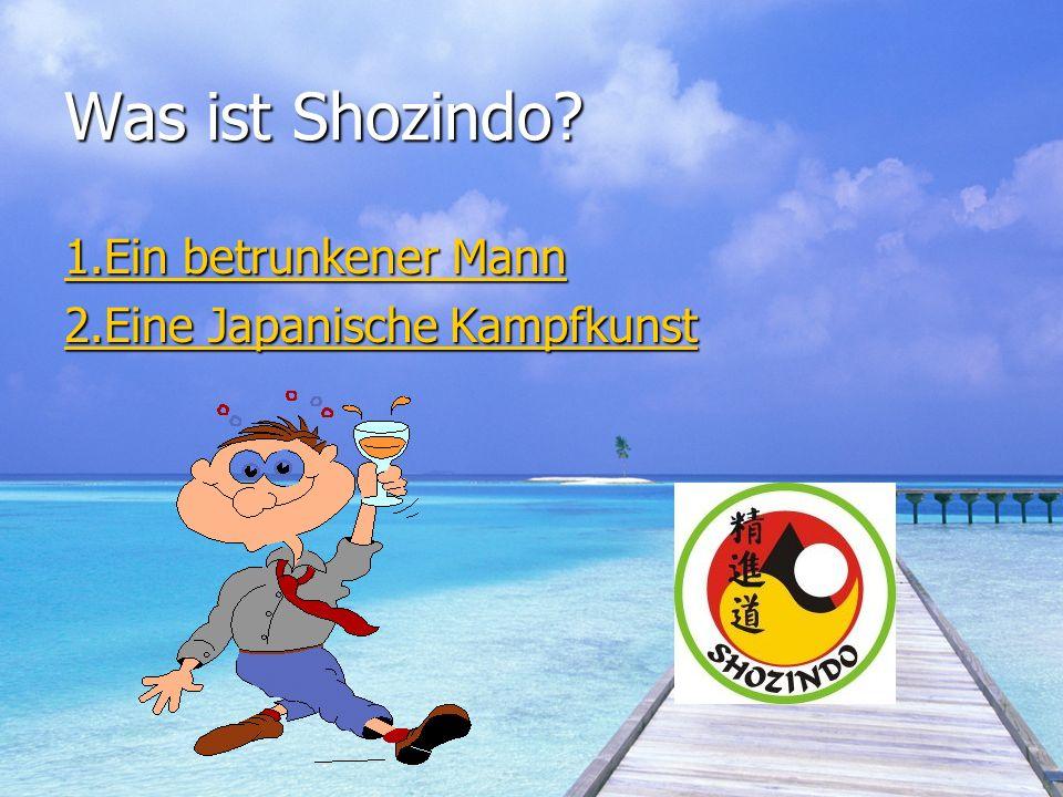 Was ist Shozindo 1.Ein betrunkener Mann 2.Eine Japanische Kampfkunst
