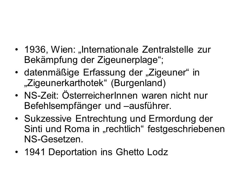 """1936, Wien: """"Internationale Zentralstelle zur Bekämpfung der Zigeunerplage ;"""