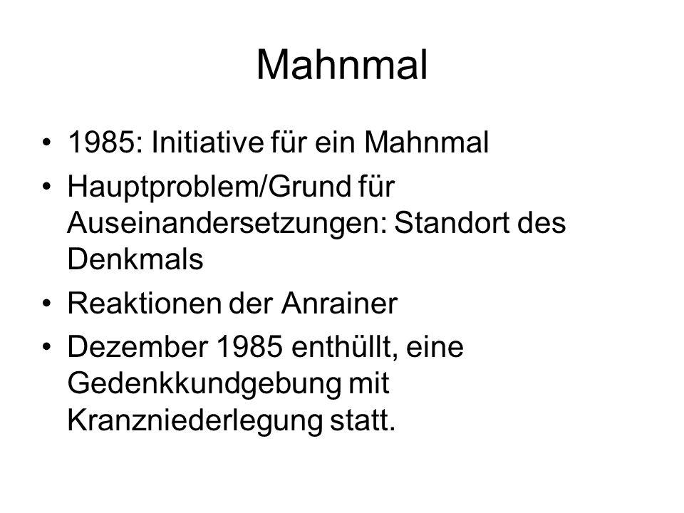 Mahnmal 1985: Initiative für ein Mahnmal