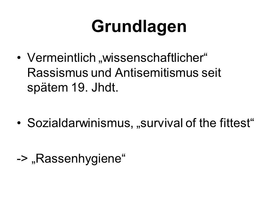 """GrundlagenVermeintlich """"wissenschaftlicher Rassismus und Antisemitismus seit spätem 19. Jhdt. Sozialdarwinismus, """"survival of the fittest"""