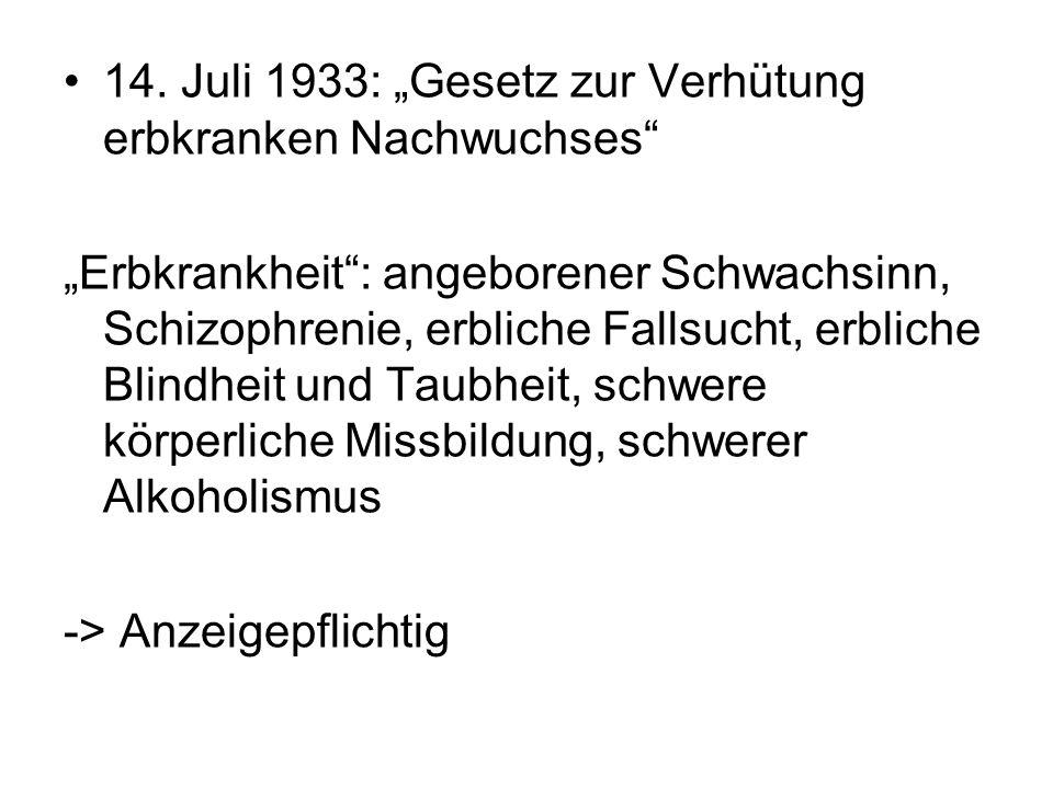 """14. Juli 1933: """"Gesetz zur Verhütung erbkranken Nachwuchses"""