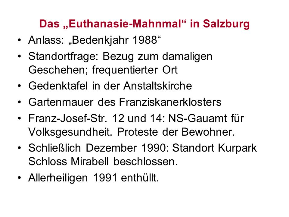 "Das ""Euthanasie-Mahnmal in Salzburg"