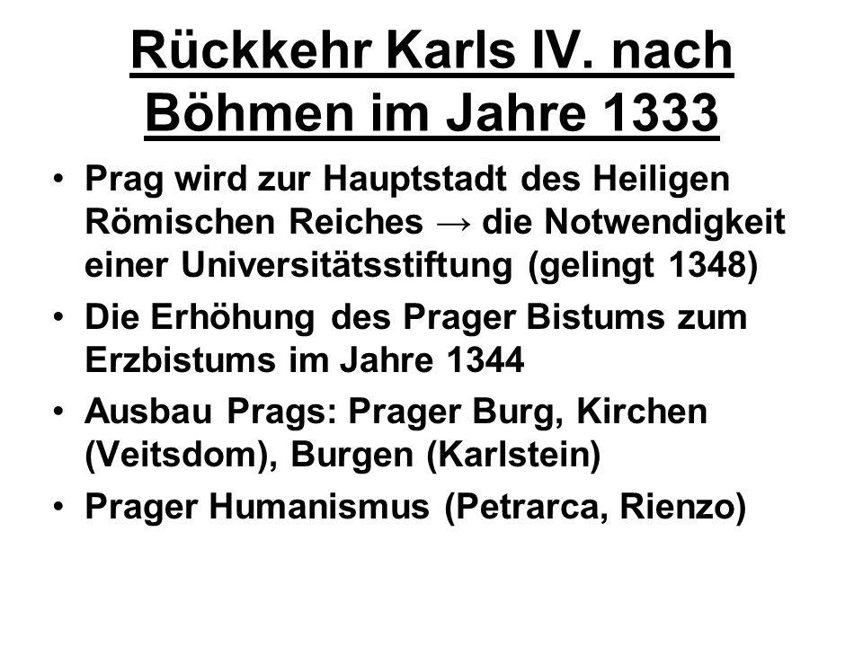 Rückkehr Karls IV. nach Böhmen im Jahre 1333