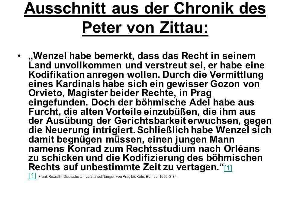 Ausschnitt aus der Chronik des Peter von Zittau: