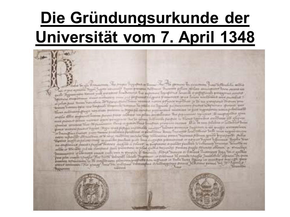 Die Gründungsurkunde der Universität vom 7. April 1348
