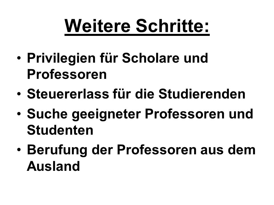 Weitere Schritte: Privilegien für Scholare und Professoren