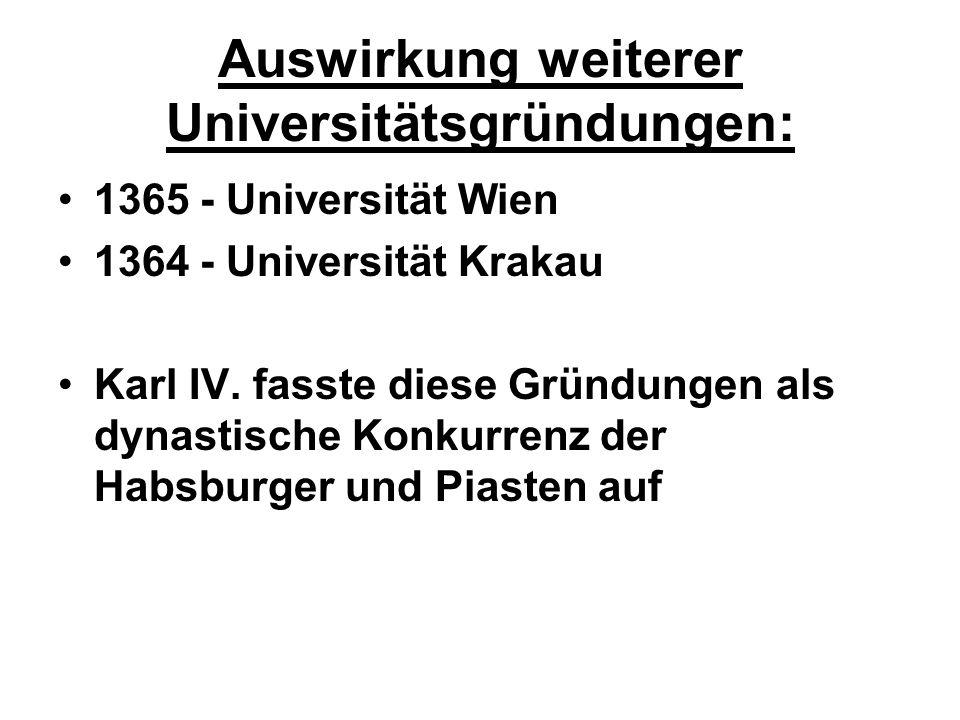Auswirkung weiterer Universitätsgründungen: