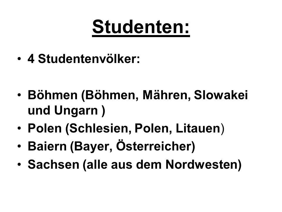Studenten: 4 Studentenvölker: