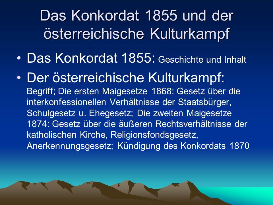 Das Konkordat 1855 und der österreichische Kulturkampf
