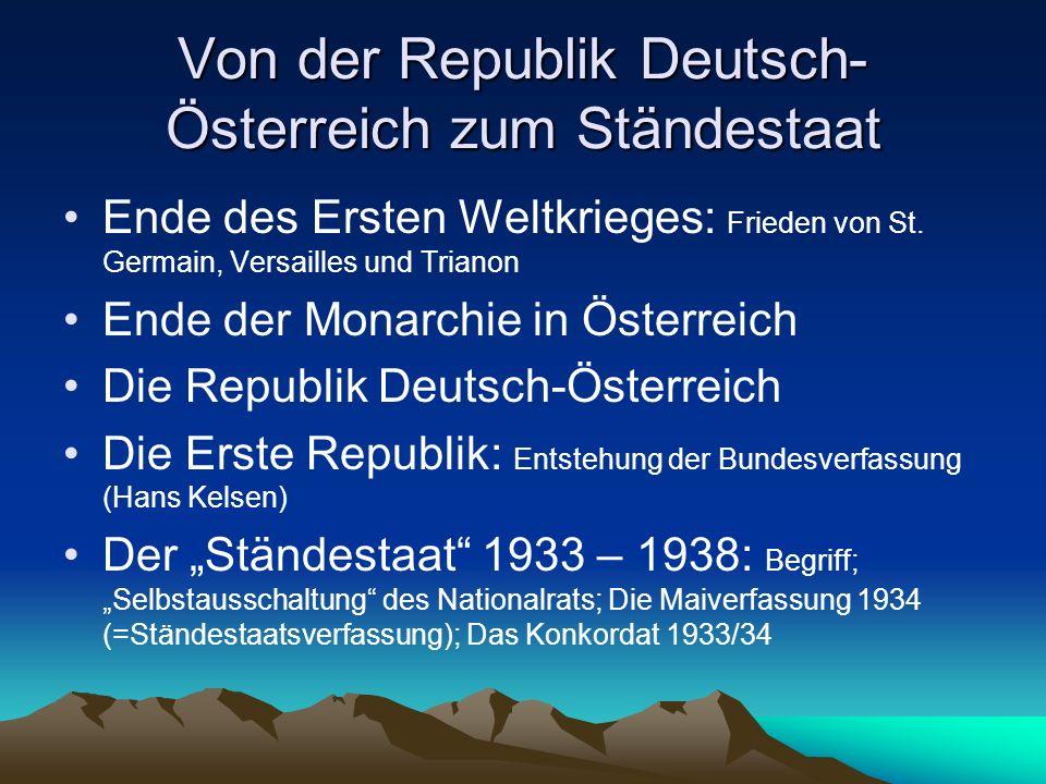Von der Republik Deutsch-Österreich zum Ständestaat