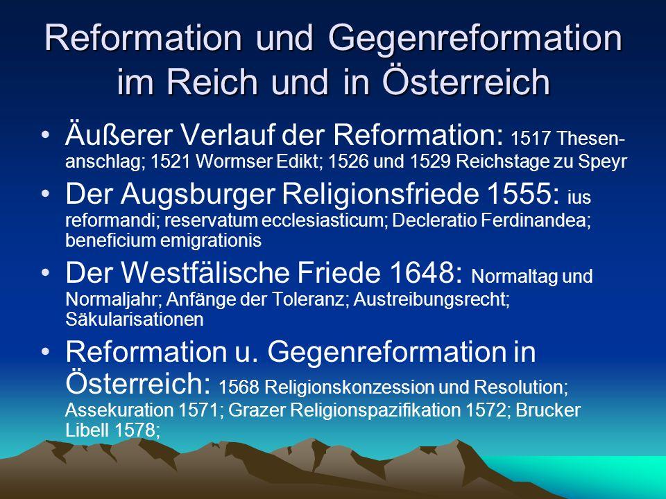 Reformation und Gegenreformation im Reich und in Österreich