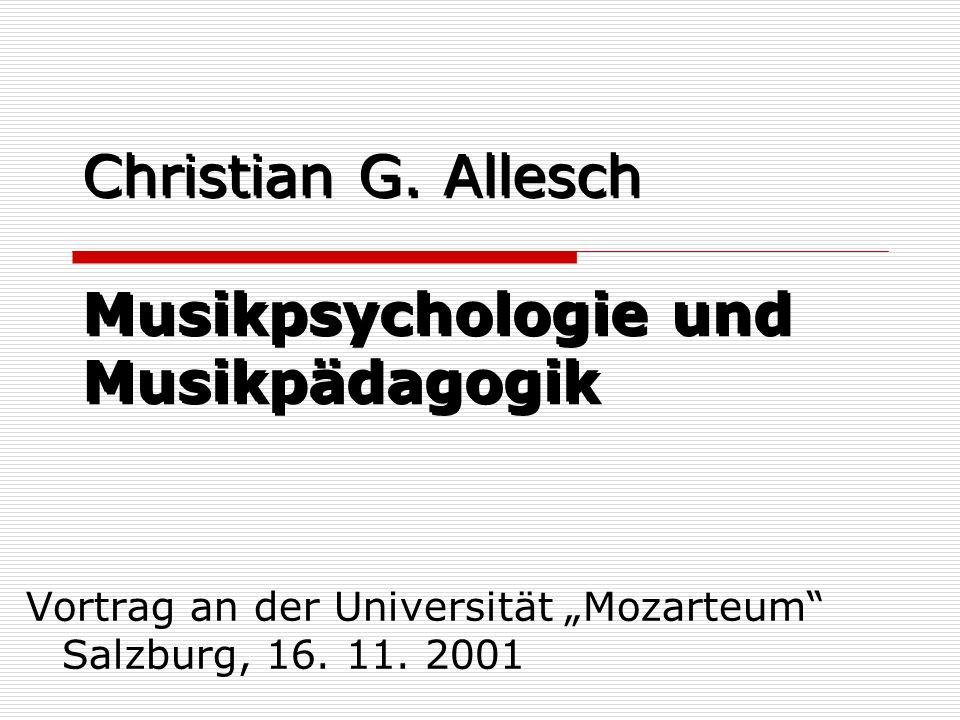 Christian G. Allesch Musikpsychologie und Musikpädagogik