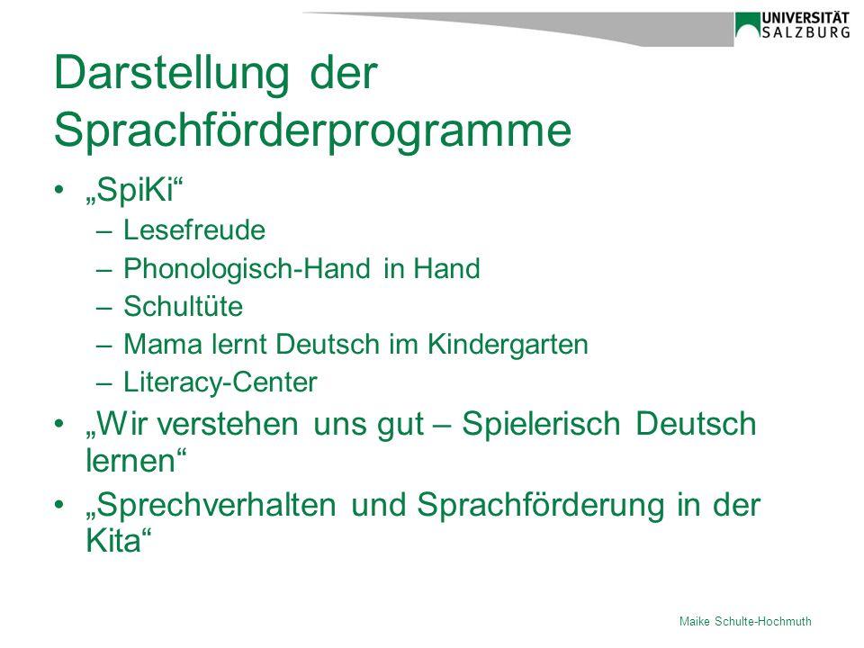 Darstellung der Sprachförderprogramme