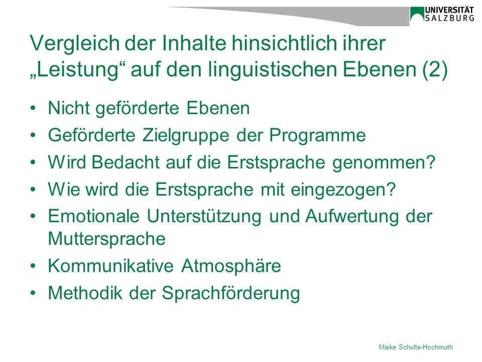 """Vergleich der Inhalte hinsichtlich ihrer """"Leistung auf den linguistischen Ebenen (2)"""