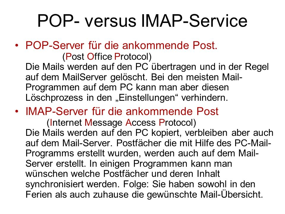 POP- versus IMAP-Service