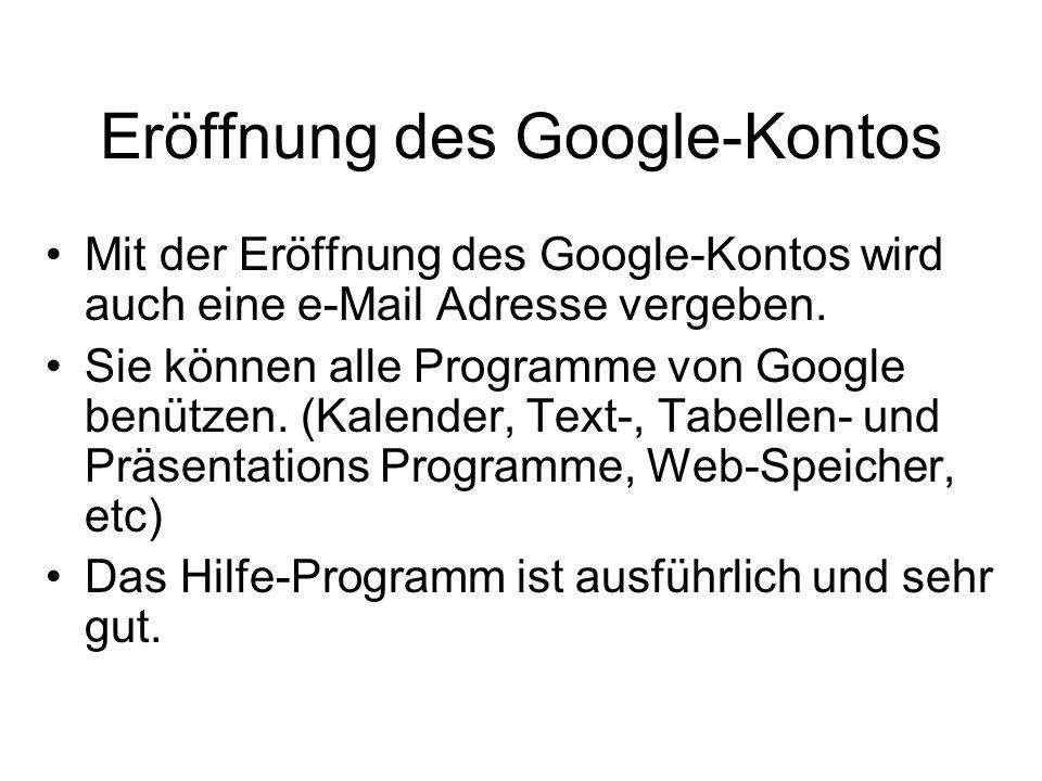 Eröffnung des Google-Kontos