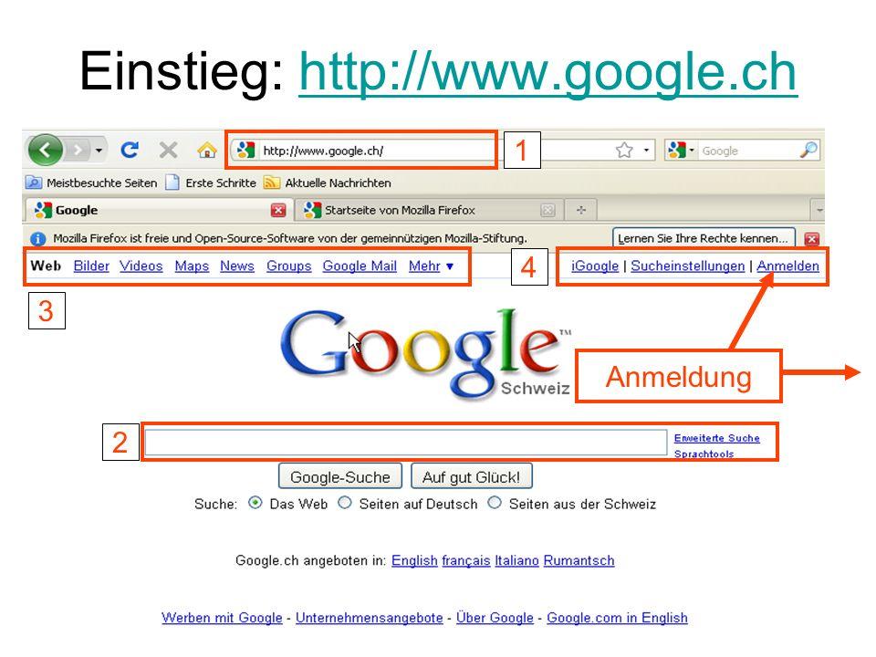 Einstieg: http://www.google.ch