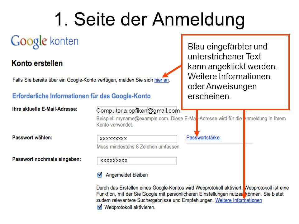 1. Seite der Anmeldung Blau eingefärbter und unterstrichener Text