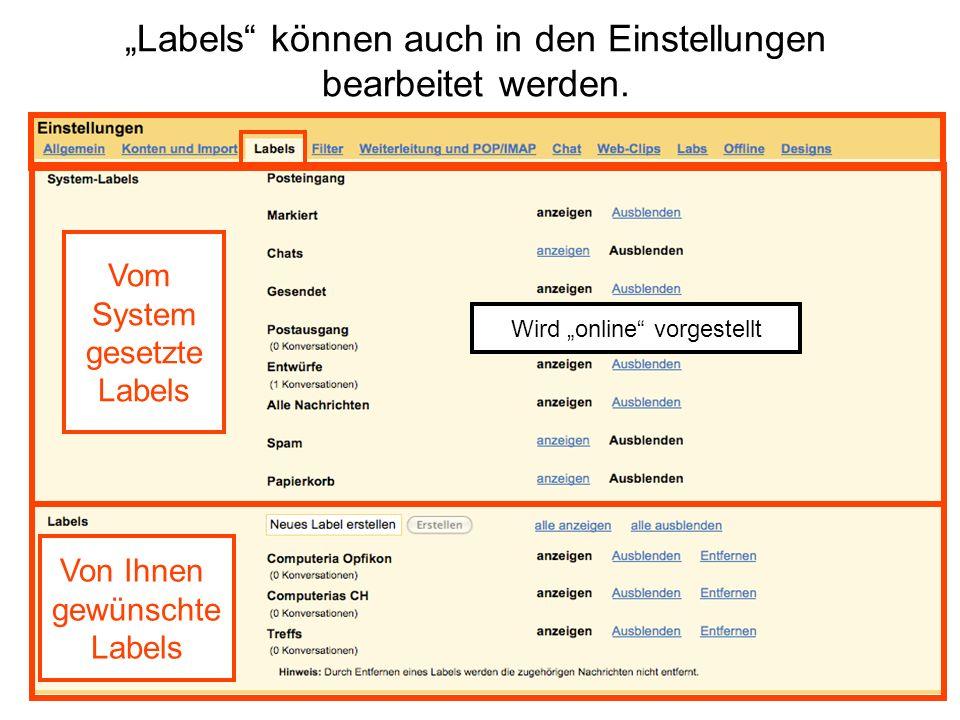 """""""Labels können auch in den Einstellungen bearbeitet werden."""