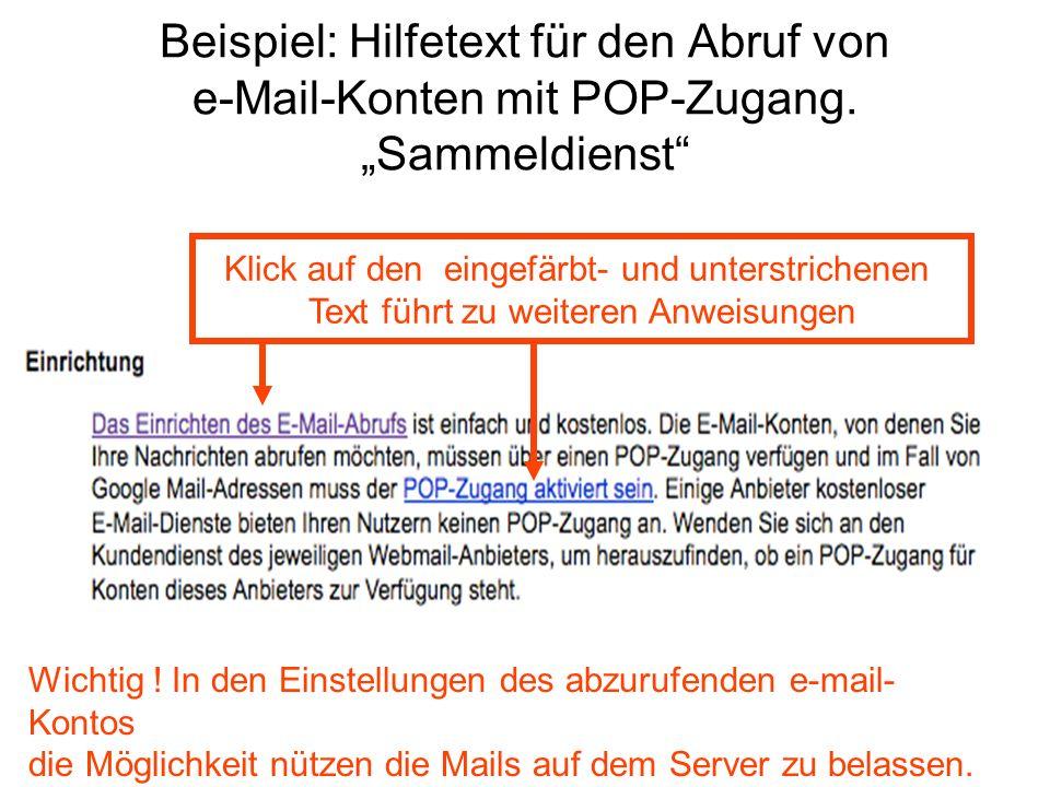 Beispiel: Hilfetext für den Abruf von e-Mail-Konten mit POP-Zugang