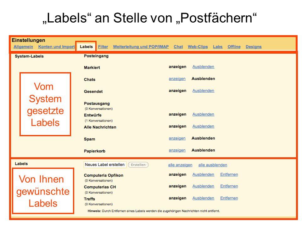 """""""Labels an Stelle von """"Postfächern"""